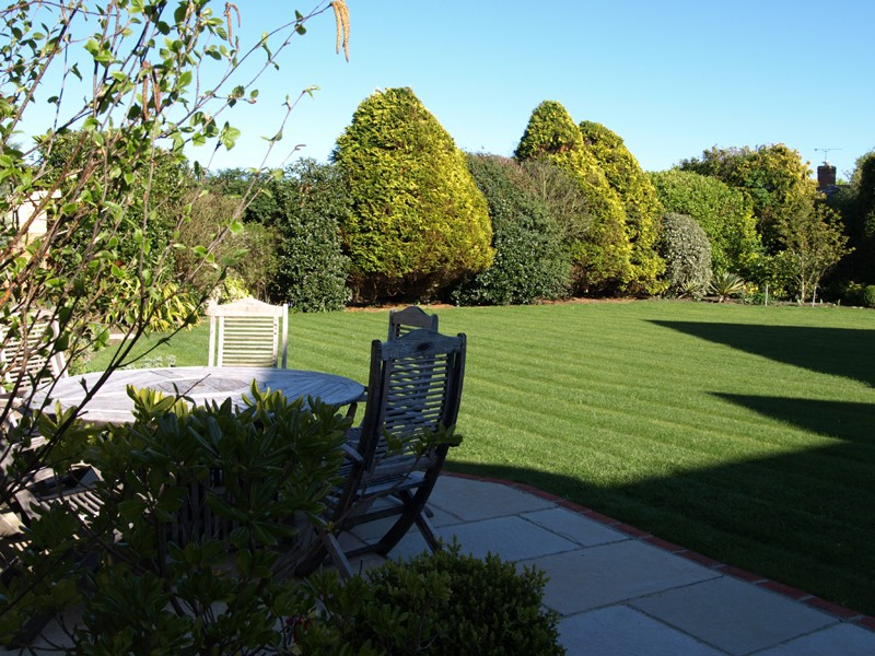 New lawns and seating area