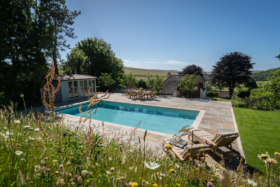 Swimming pool in South Downs garden