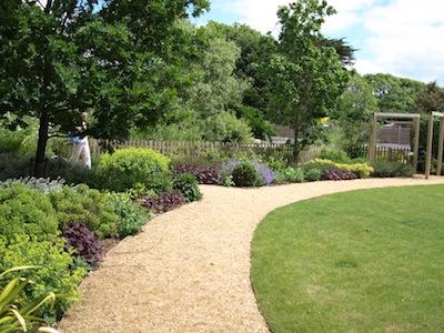 Circular lawn and path