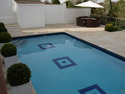 Newly tiled pool